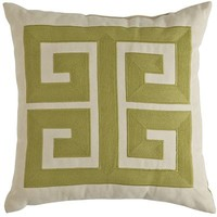 Greek Key Pillow - Moss