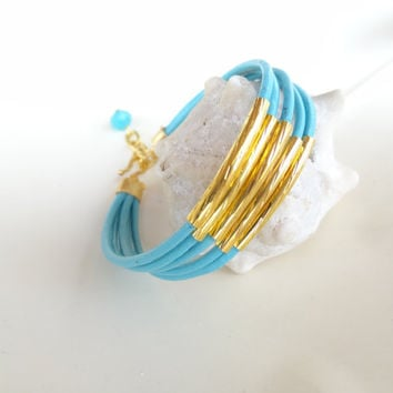 Turquoise Leather Bracelet, Gold Bracelet, Wedding Bracelet, Bridesmaid Gifts, Summer Fashion Bracelet, Charm Bracelet
