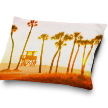 Mango Sunset - Pet Bed, Endless Summer, Beach Surf Style Bedding, Tropical Palm Trees Accent Pet Accessory. In 18x28 30x40 40x50 Inches