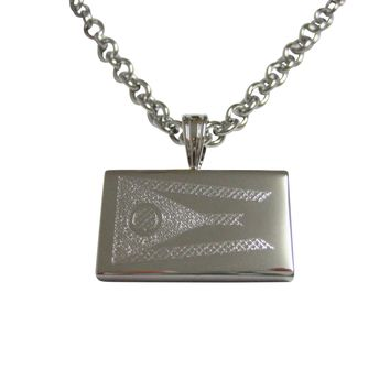 Silver Toned Etched Ohio State Flag Pendant Necklace
