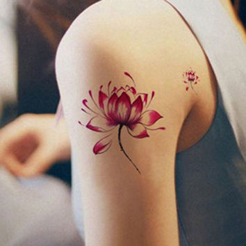 Wine Red Lotus Pattern Waterproof Tattoo Sticker