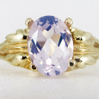 Lavender Moon Quartz 14k Yellow Gold Oval Leaf Ring, Solid 14 Karat Gold Ring, Lavender Quartz Ring, 14k Gold Ring, Yellow Gold Leaf Ring