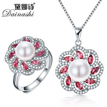 Dainashi 2017 New Pearl Jewelry Set Silver 925 Necklace Rings Fine Jewelry Sets Real Freshwater Pearl Pendants for mother girl