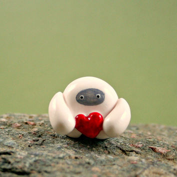 Little Abominable Snowman Holding Heart - Hand Sculpted Miniature Polymer Clay Animal - Made To Order