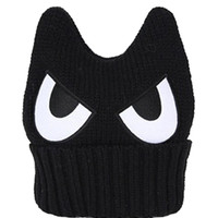 Black Eyes Horn Beanie