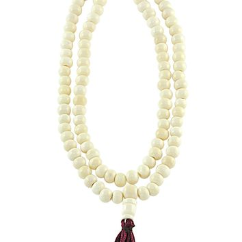 White Yak Bone Meditation 108 Beads Mala