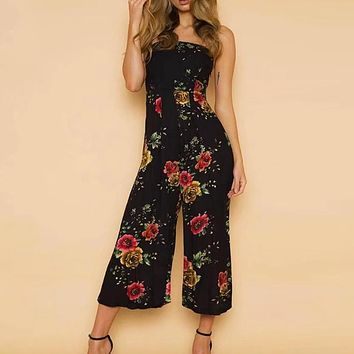 Off SHoulder Boho Floral Print Jumpsuits Women Sexy Beach Backless Long Rompers Playsuits Overall