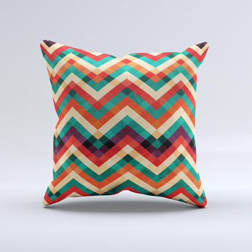 Abstract Fall Colored Chevron Pattern ink-Fuzed Decorative Throw Pillow