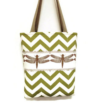 Green dragonfly tote, Dragonfly handbag, Green stripe tote, Chevron stripe tote, Brown dragonfly tote, Spring green tote, Green Chevron tote