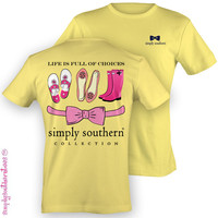 NEW Simply Southern Southern Full Of Choices Prep Banana Girlie Bright T Shirt