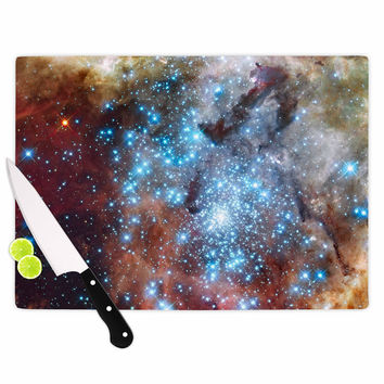 "Suzanne Carter ""Star Cluster"" Blue Space Cutting Board"