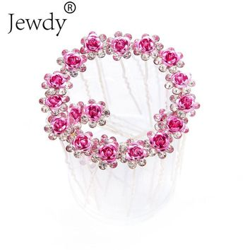 20PCS/Lot Crystal Rose Flower Hair Pin Clips Women Rhinestone Hairpins Fashion Pave Hair Clip Jewelry for Women Wedding Gift