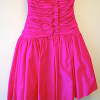SALE Vintage 80s Victor Costa Bonwit Teller HOT Pink Strapless Prom Pouf Cocktail Dress XS