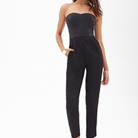 Strapless Faux Leather Jumpsuit