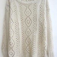 L 073008 Retro hollow loose knit sweater-C1 from cassie2013