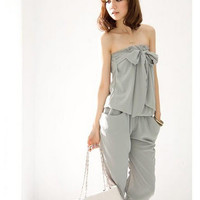 Korean Style Womens Sweet Strapless Jumpsuit Crop Pants Playsuits S-M H260