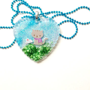 Kitty Heart Pendant Necklace//Kawaii Jewelry//Cute Necklace//Long