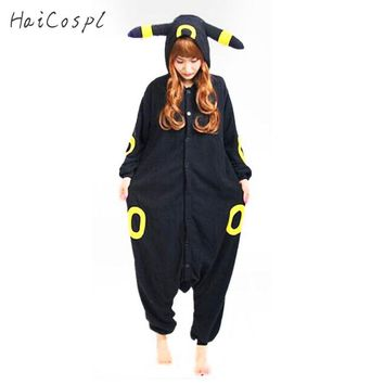 Umbreon Pajama Onesuit Women Pocket Monster Eevee Anime Pokemon Cosplay Costume Winter Black Warm Loose Nightwear Party Kigurumi