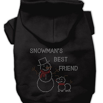 Snowman's Best Friend Rhinestone Dog Hoodie Black/Extra Large
