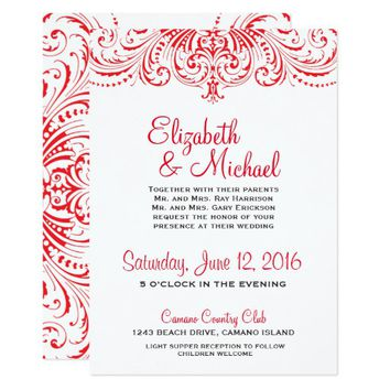 Red & White Wedding Invitation