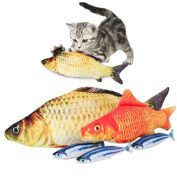 Pet Cat Toys Lovely Artificial Fish With Catnip Plush Pet Cat Puppy Dog Toys Sleeping Pet Kitten Interactive Chewing Toys