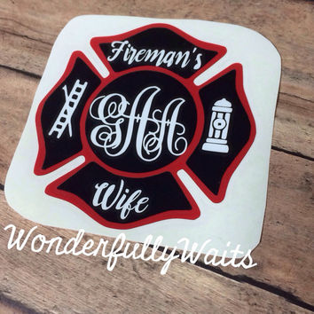Firefighter wife - wifey  - fire wife decal - Fireman's wife vinyl decal - yeti decal - DIY tumbler - cooler sticker