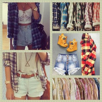 Mystery Vintage Outfit-Flannel Shirt-Vintage Shorts #mystery #vintage #90's clothes #grungeoutfit #completeoutfit