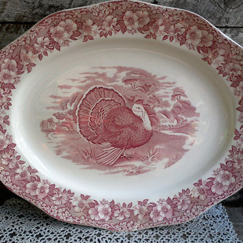 "TURKEY PLATTER, Wedgwood from England, Red & White Transferware, 20 5/8"" x 16 1/4"", Serving, Thanksgiving,  Large Tray, FREE Shipping"