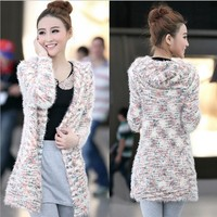 Polka Dot hooded mohair knit cardigan BBBF