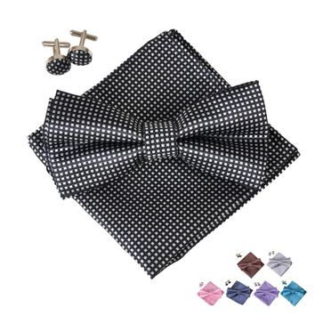 2017 Gentlemen Tuxedo Silk Handkerchief Men'S Neck Ties Set Bow Tie + Cufflinks + Butterfly Pocket Square For Wedding Party
