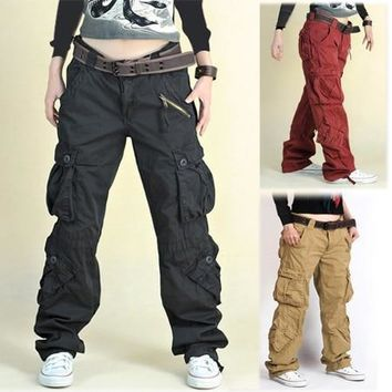 PANTS Khaki/Black fatigue cargo baggy pants women Hip hop pants dance sportwear loose plus size trousers for man & women
