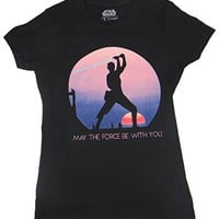 Star Wars Force Awakens Rey Sunset Silhouette Juniors T-shirt