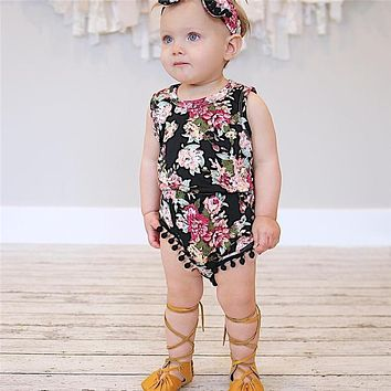 2017 Cute Baby Girls Clothes Floral print round neck sleeveless Bodysuit tassels Bowknot Headband 2pc cotton casual Set