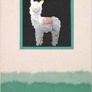 Whimsical Alpaca Pin Greeting Card