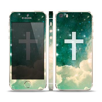 The Vector White Cross v2 over Cloudy Abstract Green Nebula Skin Set for the Apple iPhone 5s