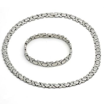 Stainless Steel Necklace and Bracelet, Hugs and Kisses and Heart Design, Steel Tone
