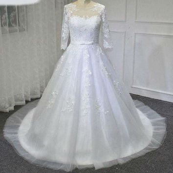 New Ball Gown Wedding Dress Sweetheart Half Sleeve Court Train Applications Lace Wedding Dresses