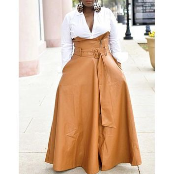High Waist Maxi Leather Skirt