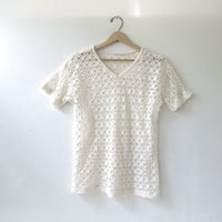 Vintage cut out shirt. mesh t shirt. beachwear. natural white shirt with holes.