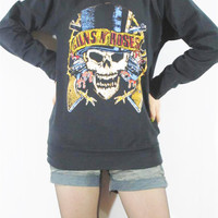 GUN N' Roses North American Tour 1989 Heavy Metal Rock Music Shirt Women Shirt Men Shirt Unisex Shirt Long Sleeve Shirt Sweater Shirt Size M