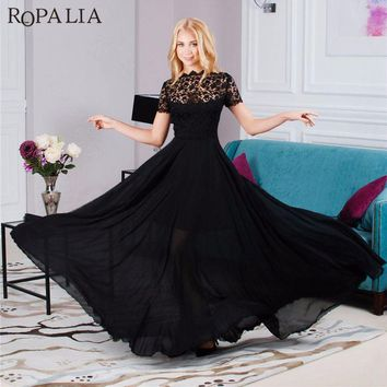 ROPALIA Elegant Black Formal Lace Mesh Women Long Dress Ladies Prom Evening Party Chiffon Long Maxi Dress Boho Style Vestidos