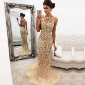 Glitter Evening Dresses Champagne Prom Dress Sequins