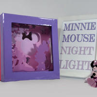 Minnie Mouse shadow box with light - Special night light, unique special gift, disney night light, kids room night light, home decor