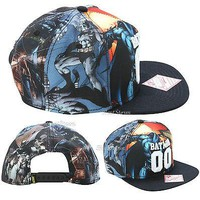 Licensed cool DC   BATMAN 00 Sublimation Gotham City Snapback Ball Cap Flat Bill Hat