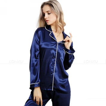Womens Silk Satin Pajamas  Pyjamas  Set  Sleepwear Loungewear U.S.S6,M8,M10,L12,L14,L16,L18,L20  S ~3XL Plus Size