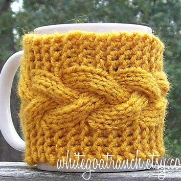 Mug Cozy, Gold Mustard, Cabled, Coffee Wrap, Mug Warmer,  Gift, Ready to Ship, Hand knit, Slip On
