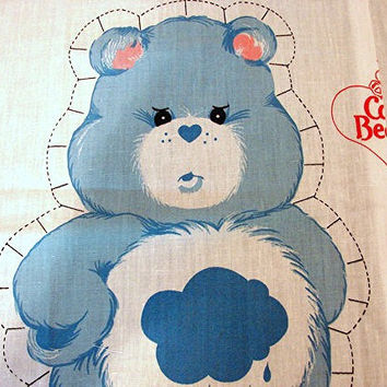 The Care Bears Fabric Panel 1980s Care Bear Cotton Fabric Sewing Panel Stuff and Sew Pillow GRUMPY BEAR