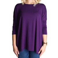Dark Purple Piko 3/4 Sleeve Top