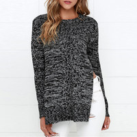 Heathered Side Slit Round Neck Knit Sweater