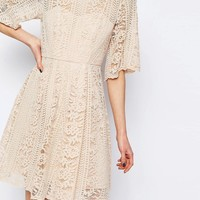 ASOS Premium Lace Skater Dress With Angel Sleeve